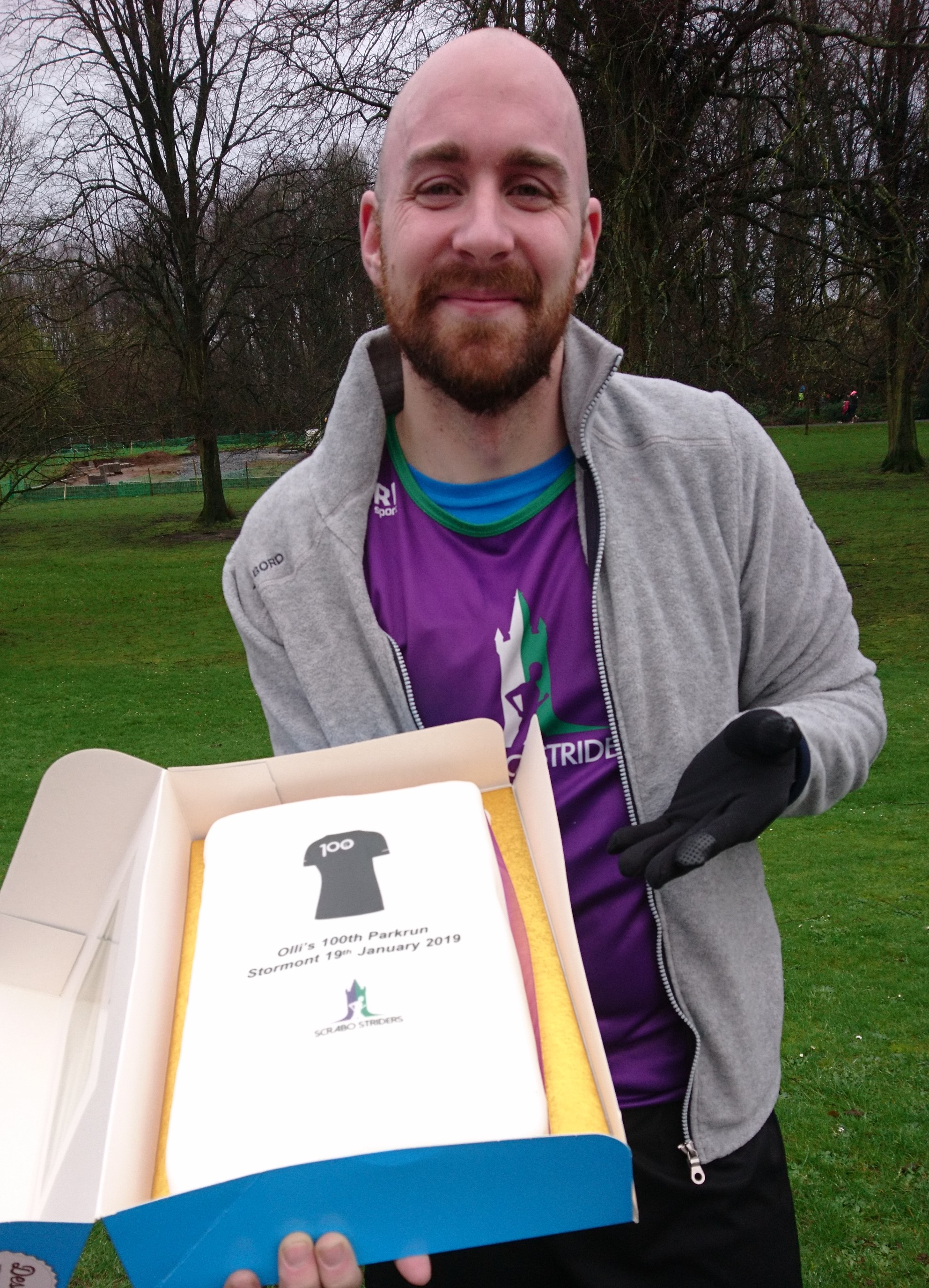In the grounds of Stormont Estate Olli Seeger, officially the Club's noisiest member, completed his 100th Parkrun.